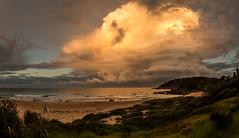 Sunset storm (OzzRod) Tags: pentax k1 smcpentaxda1017mmf3545fisheye fisheye storm clouds thunderhead cumulonimbus ocean sea beach reflection cuttagee dailyinapril2017