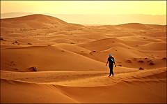 Marocco. (rogilde - roberto la forgia) Tags: marocco deserto desert dune sabbia cammello dromedario turbante sole tramonto controluce passeggiata walking dorsale sunset calore ragazza girl