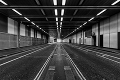 The Tunnel (scarlet-pimp) Tags: powellandbon lines symmetrical beechstreet england greatbritain b100 lights road canon5d geometrical brutalism thecityoflondon hamberlin timeout gradeii barbicanestate london spring symmetry canon5dmarkiii unitiedkingdom architecture barbican brutalistarchitecture londonist bbcengland brutalist unitedkingdom gb mono blackandwhite monochrome contrast outside bw arup