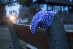 Mona Lisas and Mad Hatters (dtman04) Tags: foundobject blue purple bokeh hat 52 weeks potw bench trees park urban winter spring concord white nikon d7100 color knitting