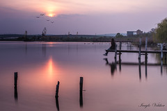 My lovely place (ИвайлоВеликов) Tags: sky lake girl beauty birds sunset color water reflection travel sun light beautiful long exposure dream flying dusk