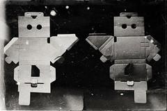 Cardboard Robot (boy)-9966 (Poetic Medium) Tags: blackandwhite diptych moldiv ipod