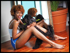 Chyna - My New Best Friend (jfinite) Tags: model beauty lifestyle portraiture shorts legs barefoot curls halter mirror