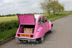 Rosie in the country-18 (magicalnights) Tags: pink wedding car derbyshire 2cv chic weddingcar shabbychicwedding sexyweddingcar 2cvweddingcar
