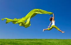 Health & Fitness (EMDActive.Com) Tags: travel summer sky woman color green nature girl beautiful beauty field grass sport female scarf landscape fun happy freedom flying spring jump jumping healthy women energy pretty slim wind action outdoor tissue joy young meadow free lifestyle happiness fresh health fabric enjoy fitness success vacations carefree fit active vitality