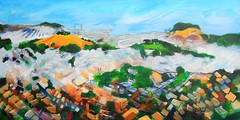 Yonder East Lies Bernal and Candlestick (Todd Berman) Tags: sanfrancisco art painting landscape acrylic cityscape forsale twinpeaks bayview bernalheights bernalhill acrylicpainting hollypark urbanlandscape candlestickpoint viewfromtwinpeaks viewofsanfrancisco toddberman theartdontstop