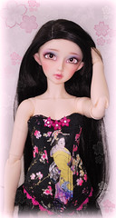 Sakura Geisha Corset (Amy Lilley) Tags: flowers ed eyes amy handmade ooak blossoms sd geisha wig corset sakura bjd dollfie volks fairyland 60 2012 juri lilley feeple nomyens