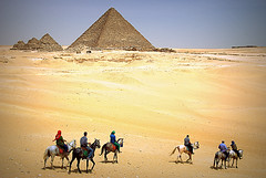 Giza, Egypt - Dotting the Desert (afterw0rdz) Tags: world horses stone architecture sand ancient desert pyramid egypt 7 queens seven egyptian pyramids giza wonders menakaure