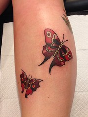 sailor Jerry butterflies by Wes Fortier - Burning Hearts Tattoo Co. 1430 Meriden Rd.  Waterbury, CT