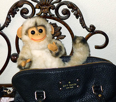 Look who snuck into my bag! (DollyBeMine) Tags: animal vintage toy monkey stuffed plush