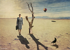 Balloon station (Jean-Michel Priaux) Tags: voyage travel sunset shadow sun tree girl lady painting landscape waiting desert nowhere balloon surreal wife wait lonely wilderness paysage anotherworld lonesome priaux mygearandme