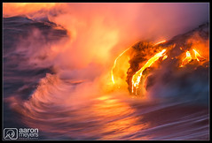 Fizzle Sizzle (Aaron M Photo) Tags: longexposure trip friends sunset vacation motion water night landscape fun fire kalapana volcano hawaii lava coast nationalpark nikon paradise tour pacific wave hike pacificocean le environment guide bigisland volcanonationalpark redhot eruption kilauea magma pele active molten pahoehoe d800 lavaflow volcanoesnationalpark hotlava watermotion volcanoesnp volanoes lavafloe nikond800 aaronmeyersphotography kalapanaculturaltours