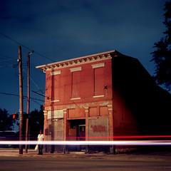 (deatonstreet) Tags: longexposure building 120 film architecture night kentucky historic storefront louisville automat flexaret kodakektar100