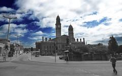 A gray Paisley Town hall under a blue sky (dddoc1965) Tags: photoshop scotland photographer tips townhall paisley davidcameron dddoc