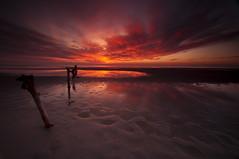 Red Skies Sailors Delight_DSC1319 (antelope reflection) Tags: sunset red orange reflection beach yellow antelopeisland greatsaltlake posts utahstatepark nikond90 tamron1024
