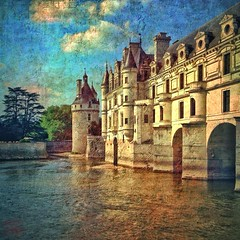 Chenonceau, summer evening (allophile) Tags: painterly france castle texture architecture chateau loire chenonceau iphone mobilephotography texturesquared iphoneography perspectivecorrect snapseed mextures distressedfx