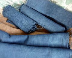 Natural Dyes on Hemp (milkweed quilts) Tags: walnut indigo hemp naturaldye indigodye plantdye indigodyed walnutdye