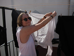 Calle Buenos Aires, Sharon hanging laundry on the roof.. (Sharon Frost) Tags: sharon roofs laundry callebuenosaires