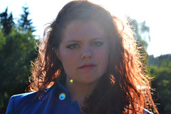 Aileen (jackiemaemorrow) Tags: blue light red summer woman sun nature girl make up sunshine digital hair nikon photoshoot curly flare d3100