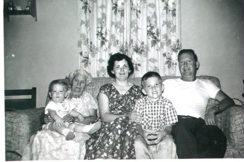 Brian Copeland, left, Myrtle (Crider) Copeland, Marjorie (Bill's wife), William Dale Copeland, and William Delvie Copeland, late 1950s.