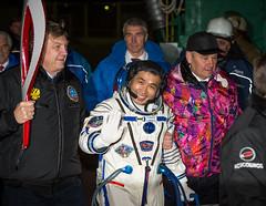 Expedition 38 Prelaunch (NASA Johnson) Tags: kazakhstan olympictorch baikonur 2014winterolympics baikonurcosmodrome koichiwakata soyuzlaunchpad russiansokolsuit valerykorzun alexeykrasnov expedition38 soyuztma11m expedition38prelaunch