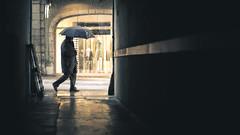 from a dark alley (Eneade) Tags: winter snow france umbrella dark snowflakes alley 85mm eneade 5dmarkiii