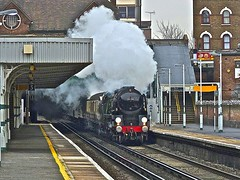 Clan Line at Thornton Heath 1 (Deepgreen2009) Tags: cloudy railway trains steam line special southern pullman february clan luncheon vsoe bulleid uksteam
