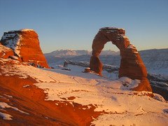 Snow dusted (katiebell82) Tags: park winter sunset usa snow america utah dusk hiking arches national redrocks geology archesnationalpark rockformations delicatearch