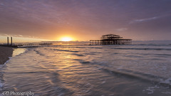 Before the Collapse (GlennDriver) Tags: uk morning light sea england sun seascape beach water clouds sunrise canon photography sussex coast pier brighton waves angle cloudy britain wide east gb 600d