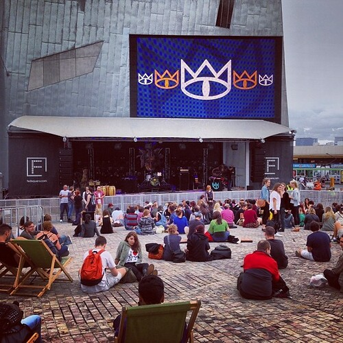 The crowd are warming up for the 1000th show. Come along, spread the word, after all, it's free!! #tce1000 #fedsquare