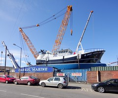 Parkol Marine's Whitby shipyard (yogi59) Tags: new england mobile river star marine britain crane yorkshire united great north kingdom east whitby 1200 hull launch build trawler ton guiding esk sarens gottwald parkol h360 ak6803