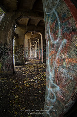 Graffiti Underground Tunnel (fisheye hdr) (danilew) Tags: autumn usa fall abandoned philadelphia sign architecture docks buildings concrete graffiti condemned nikon october ruins doors pattern architecturaldetail pennsylvania infinity columns neglected entrance structures symmetry architectural pa doorway adobe exit nikkor pillars quays derelict deserted hdr highdynamicrange deteriorated decayed portals dilapidated crumbling rundown ruined brokendown abandonedbuildings shabby neverending d300 wharves landings 2011 105mmf28gfisheye vacantbuildings fallendown desertedbuildings constructionmaterial niksoftware transportationfacilities abandonedpier nikon105fisheye nikond300 boatlandings architecturalstructures danilew viveza2 wwwdanilewcom decayofbuildings buildingdeterioration lightroom5 colorefexpro4 photoshopcc