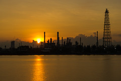 Sunrise scence of Oil Refinery factory industry (MongkolChuewong) Tags: auto automobile bangkok boil boiler capacity chemical chemistry chimney energy engineer engineering environment factory fuel gas gasoline heavy industrial industry landscape light liquid manufacturing metal night oil petrochemical petroleum pipe pipeline plant pollutant pollute pollution power product production refine refinement refinery sky smoke sphere steam storage tank technology tower silhouette
