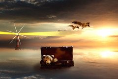 The Journey Begins (cozmicberliner) Tags: sea lighthouse bear teddy suitcase water beauty conceptual mystical fantasy childsplay toy birds flying sunset warmreflection new journey future start way vacation trip freedom travel concept begin light direction beginning sunny sunlight sun sky path challenge