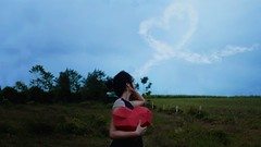 216/365 Fall in Love (figuratively) (Katrina Y) Tags: selfportrait clouds manipulation artsy art heart paper craft mood moody conceptual creative concept sky surrealphotography surreal