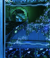(ConnecteD\_) Tags: shadow warrior 2 outdoor flying wild hog hologram green blue staircase screenshot