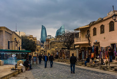 Old Town (emilqazi) Tags: baku azerbaijan city cityscape old town street people downtown flame towers skyscrapers travel spring buildings history architecture