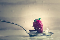 Strawberry splash (RoCafe Off for a while) Tags: 52stilllifes splash stilllife strawberry milk spoon nikkormicro105f28 nikond600
