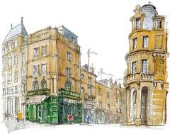 Poitiers, place de l'Hôtel de ville (Croctoo) Tags: ville croctoo croctoofr croquis poitiers poitou poitoucharentes watercolor aquarelle