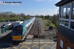22053+22052 arrive at Ballinasloe, 8/4/17 (hurricanemk1c) Tags: railways railway train trains irish rail irishrail iarnród éireann iarnródéireann 2017 22000 rotem icr rok 3pce ballinasloe 0925heustongalway 22053