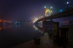 Autumn Fog (Brad Truxell) Tags: pittsburgh alleghenyriver fog autumn fall october bridge robertoclementebridge glow riverwalk river city hdr exposureblending sigma1020mm nikond7000