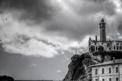 imprisoned ruins (kaimonster) Tags: alcatraz sanfrancisco california blackandwhite photography hdr monochrome prison jail island tower sky