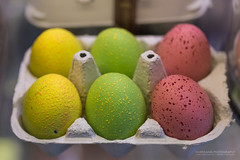 Easter Eggs (Normann Photography) Tags: grünerløkka mathallen oslo yellow colorful colorsofeaster dof easter eastereggs egg green orange pink purple påskeegg red shallowdepthoffield signs norway no 6pack six