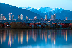 Metropolis 🏪💙 Vancouver, BC (Michael Thornquist) Tags: metrotown burnaby fraserriver deltabc richmondbc mtseymour mountseymour mountbonnycastle mtbonnycastle mountains snowcapped reflection blue bluehour shippingcontainers trianglebeach skyline cityscape vancouver britishcolumbia dailyhivevan vancitybuzz vancouverisawesome veryvancouver 604now photos604 explorecanada ilovebc vancouverbc vancouvercanada vancity pacificnorthwest pnw metrovancouver gvrd canada
