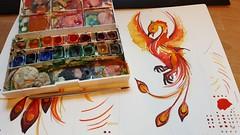 painting phoenix ~ WIP (Scrummy Things) Tags: painting watercolor watercolour spoonflower wip workinprogress scrummy sharonturner greekmythology phoenix bird fire thirdtimedammit awholemonthofpaintingomg contest fantasy creature