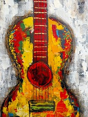 Guitar (Thad Zajdowicz) Tags: art painting wallart pasadena california zajdowicz availablelight cellphone motorola droid turbo snapseed color mobile smartphone android cameraphone indoor inside guitar music strings