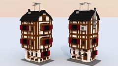 _movie tudor front back updt (Xon_67) Tags: ldd bluerender lego movie tudor mrs scratchenpost bricksburg moc