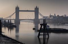 Wake up (explored 18/4/17 #4) (MarkWaidson) Tags: towerbridge mist haze thames comorants soft gentle peaceful sunrise boats london city buildings