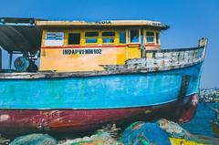 Fishing Trawler (naren-photography) Tags: vizag visakhapatnam harbor fishing trawler ribbonfish shrimp yellow blue ricoh gr ii street india