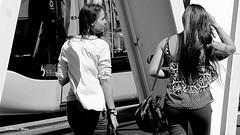 On the bridge (patrick_milan) Tags: brest noiretblanc blackandwhite noir blanc monochrome nb bw black white street rue people personne gens streetview féminin femal femme woman women girl fille belle beautiful portrait face candide